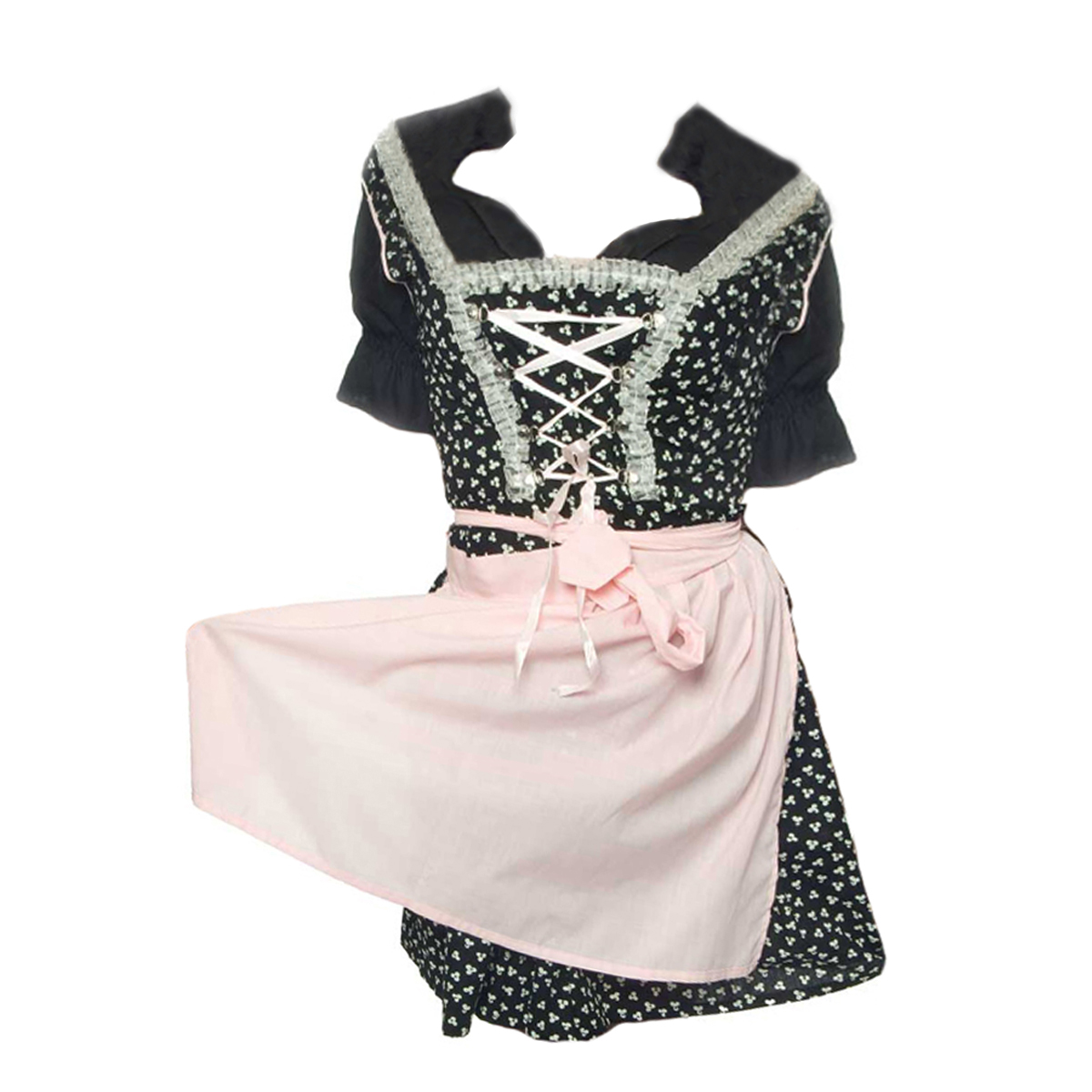 BLACK LONG DIRNDL WITH PINK LACES