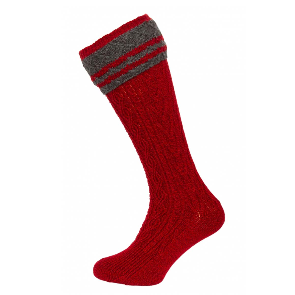 RED MEN SOCKS WITH GREY ARTWORK