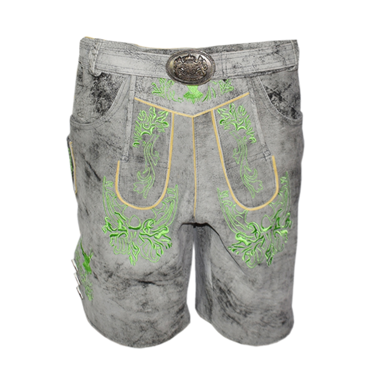 GREY MEN SHORT LEDERHOSEN WITH GREEN ART WORK