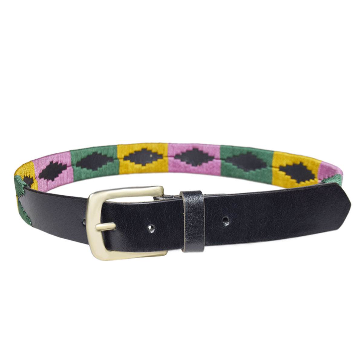 BLACK POLO BELT WITH MULTICOLOR DESIGN 1.5 INCH