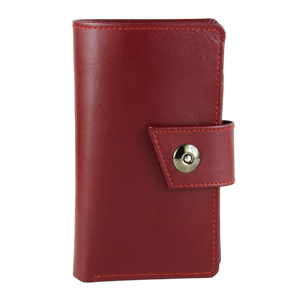 MAROON LONG WALLET WITH MAGNETIC BUTTON