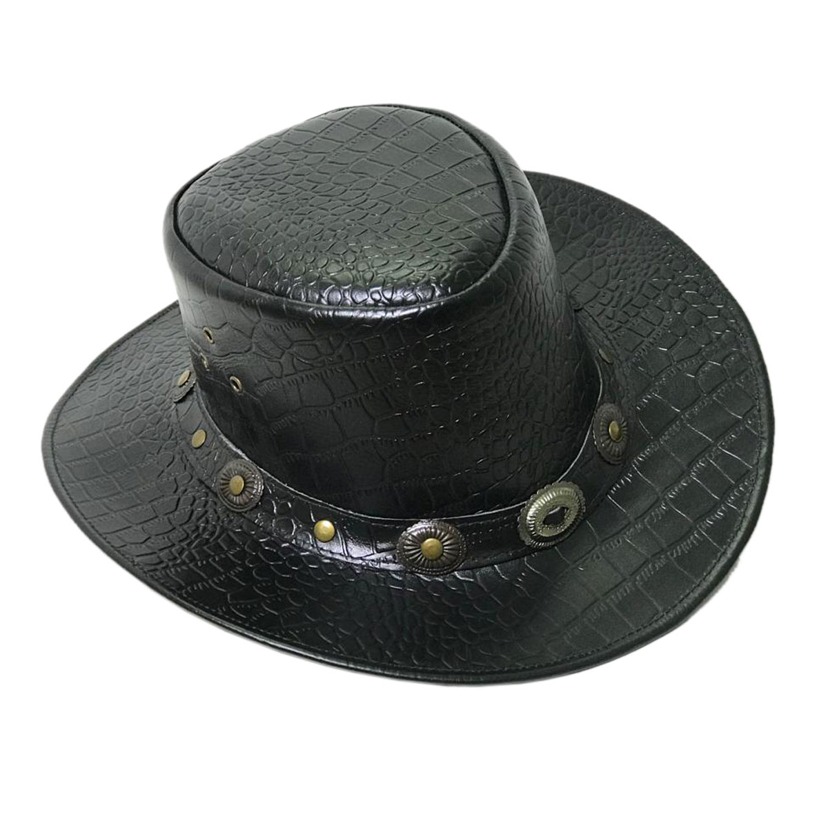 BLACK LEATHER HAT WITH METAL BUCKELS
