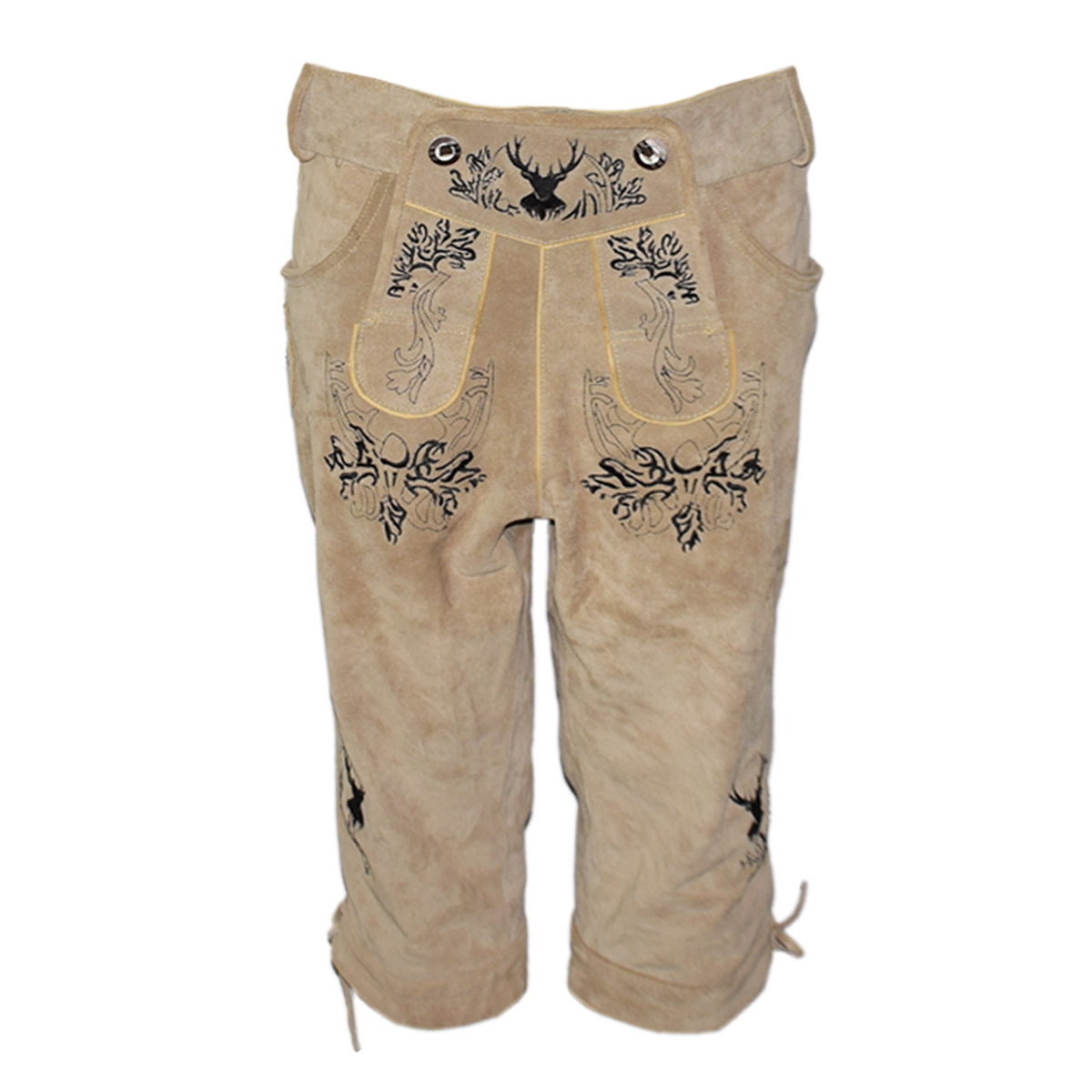 LIGHT BROWN MEN LONG LEDERHOSEN WITH BLACK ART WORK