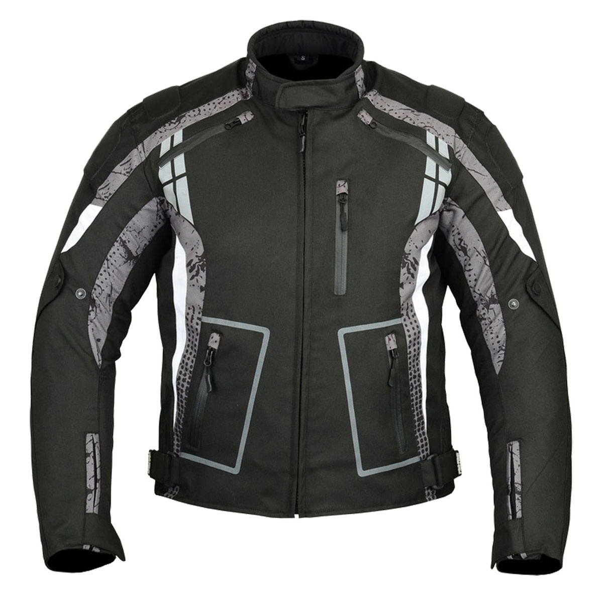 BLACK MEN CORDURA JACKET WITH GREY DESIGN