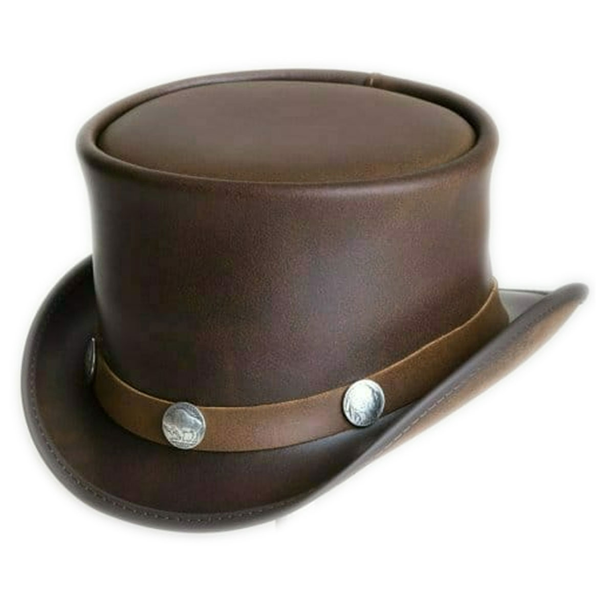 BROWN LEATHER HAT WITH CURVES