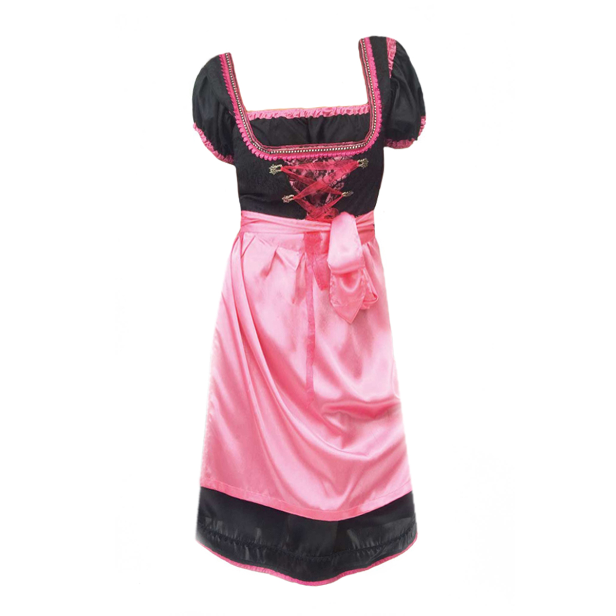 RED / BLACK LONG DIRNDL WITH LACES