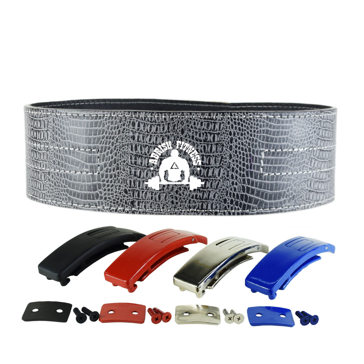 GREY LEVER BELT CROCODILE SKIN