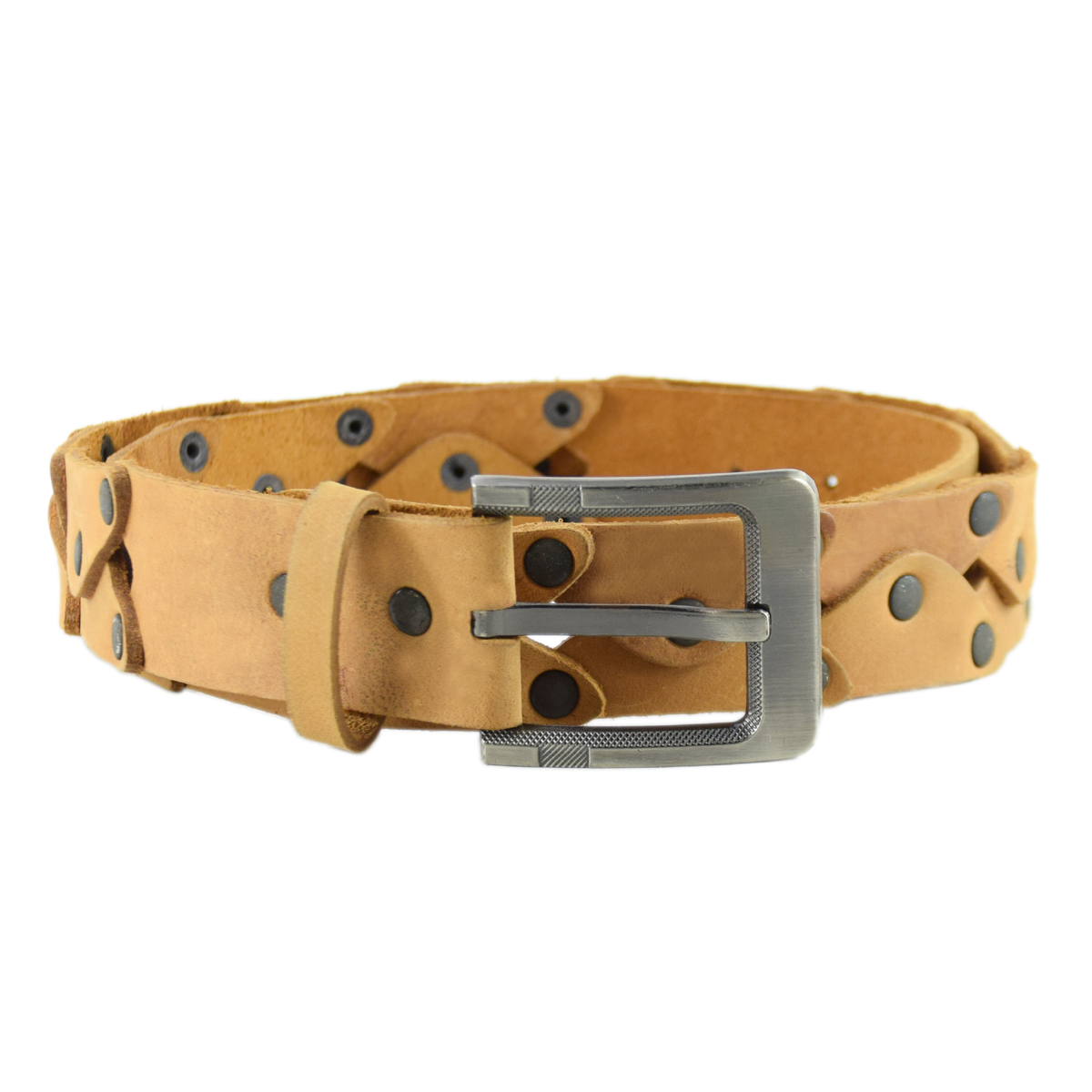 "Metal Buckle Unique Handmade Leather Belt 1.5"""