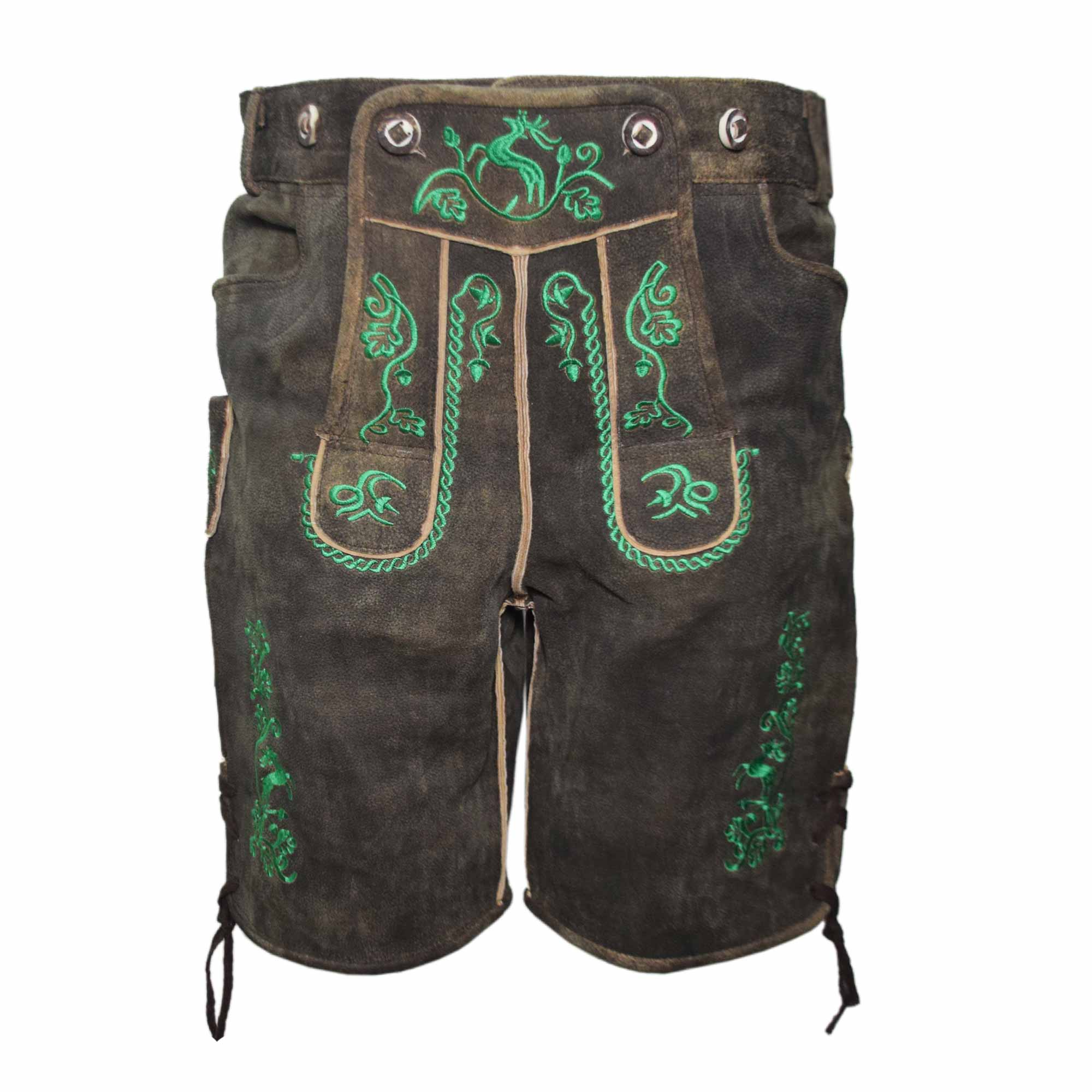 DARK BROWN MEN SHORT LEDERHOSEN WITH GREEN ART WORK