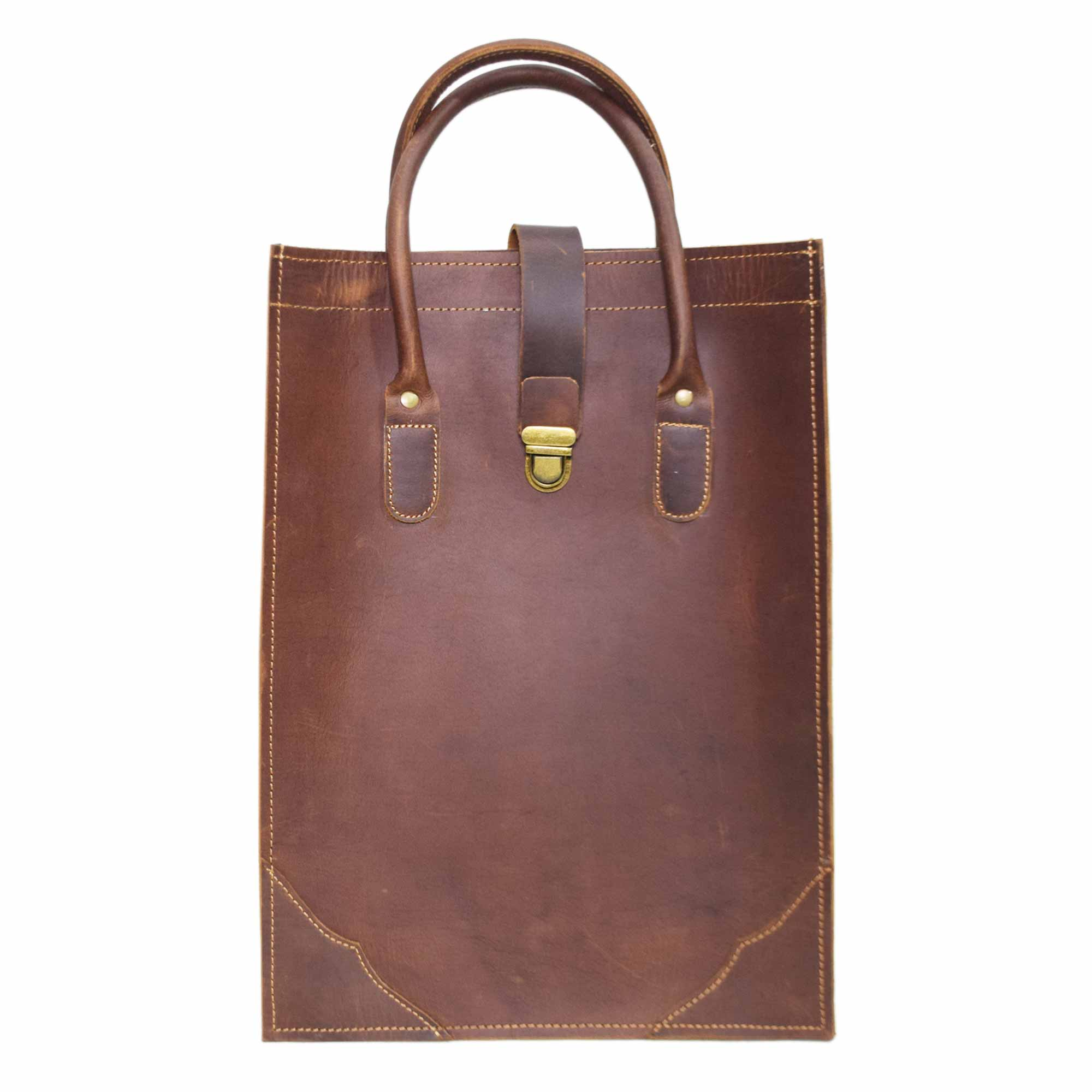 DARK BROWN LEATHER TOTE BAG WITH SHOULDER BELT