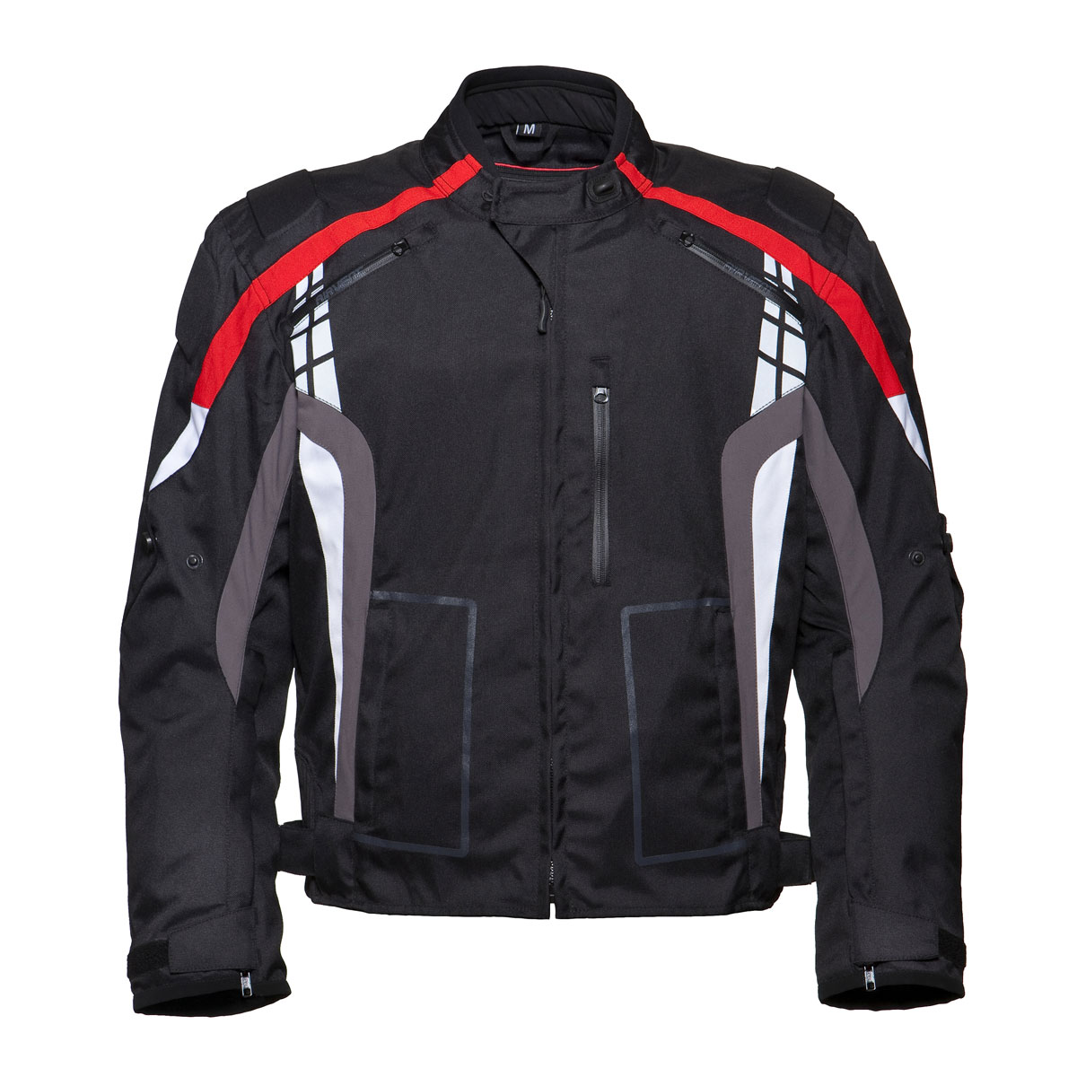 BLACK MEN CORDURA JACKET WITH RED DESIGN