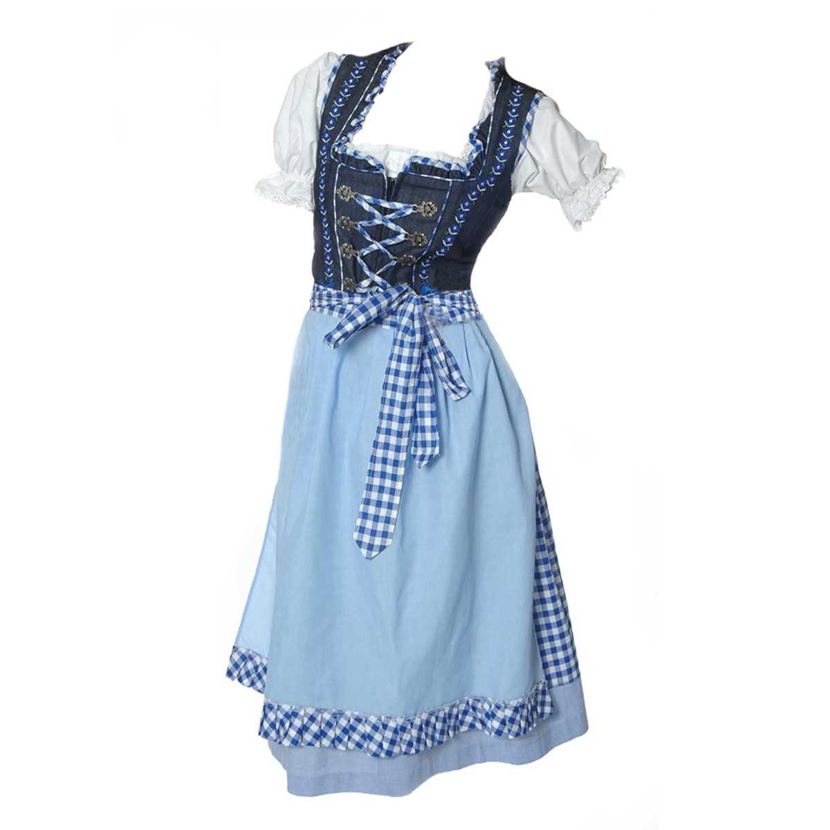 BLUE LONG DIRNDL WITH LACES