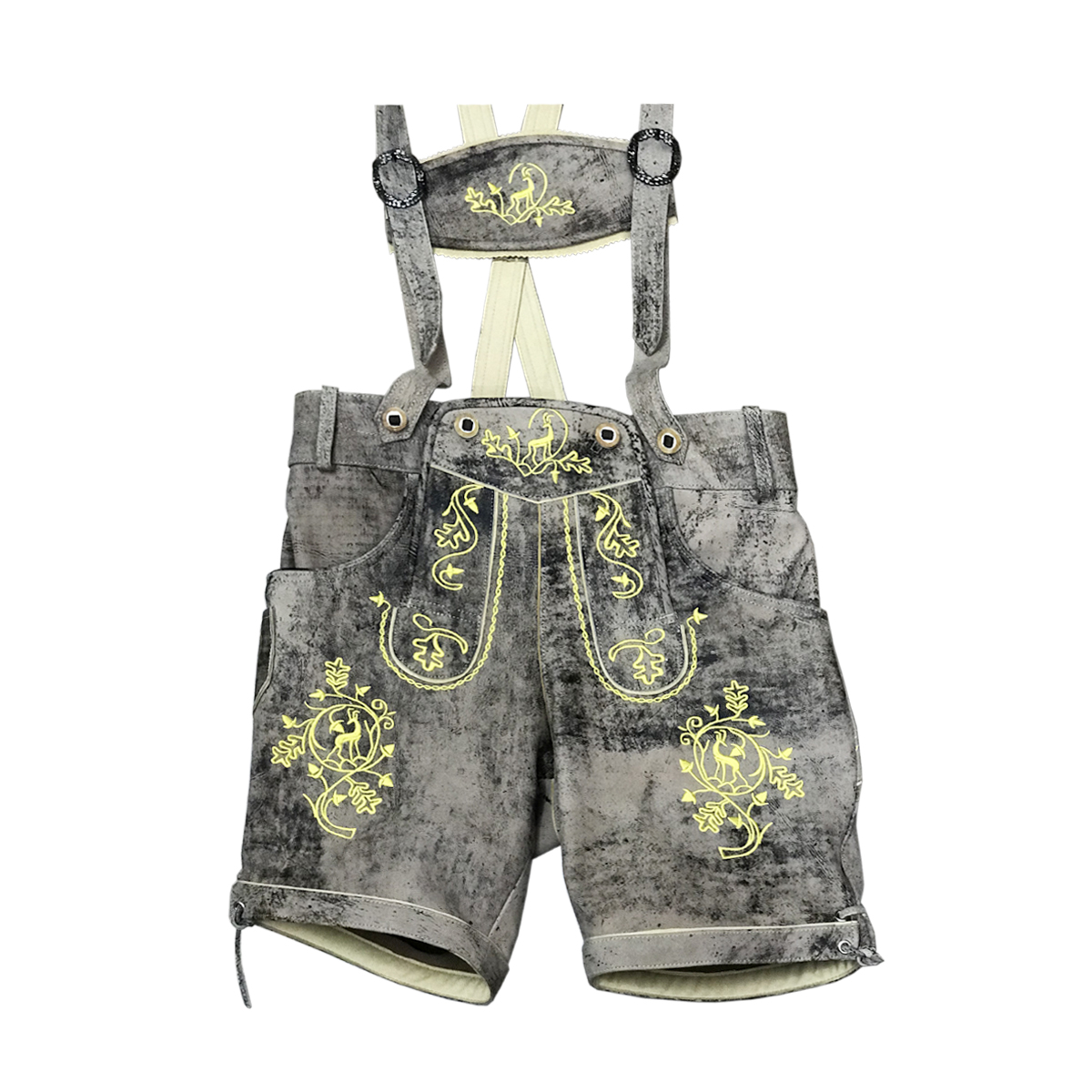 GREY MEN SHORT LEDERHOSEN WITH YELLOW ART WORK
