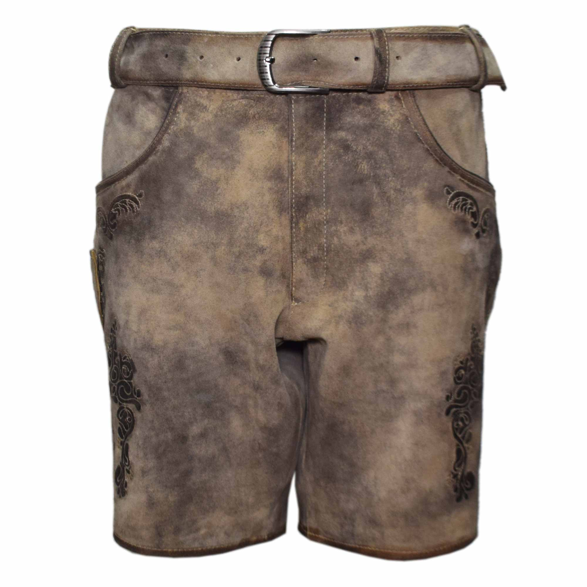 SKIN MEN SHORT LEDERHOSEN WITH ART WORK