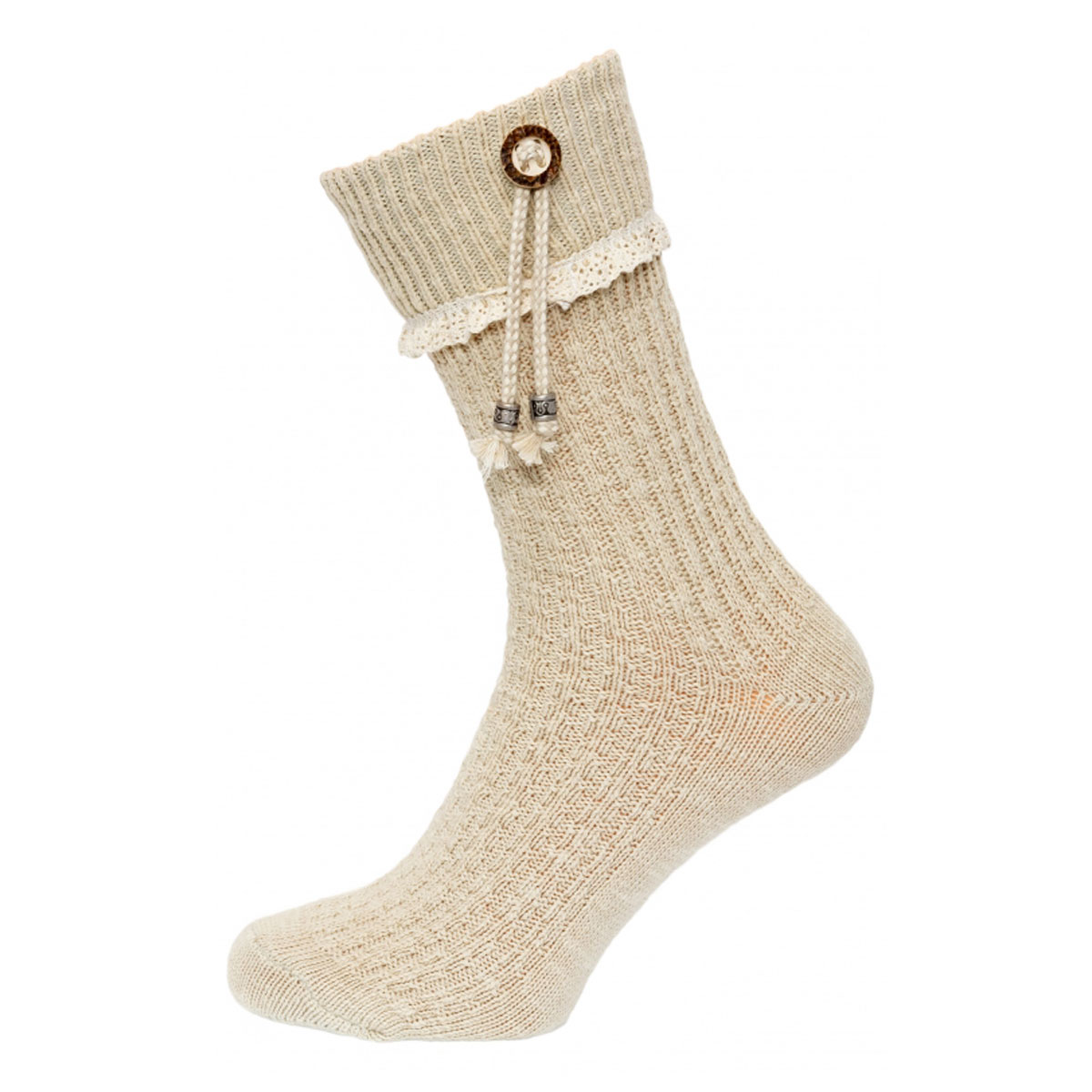 LIGHT BROWN FEMALE SOCKS WITH UNIQUE LACES