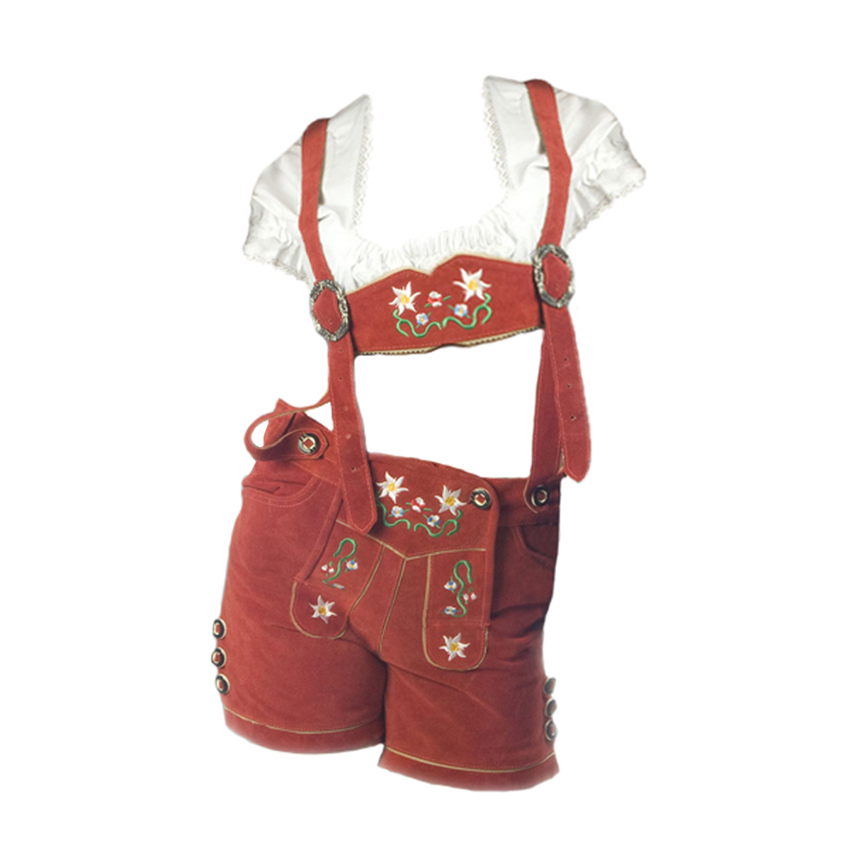 LADIES RED SHORT LEDERHOSEN