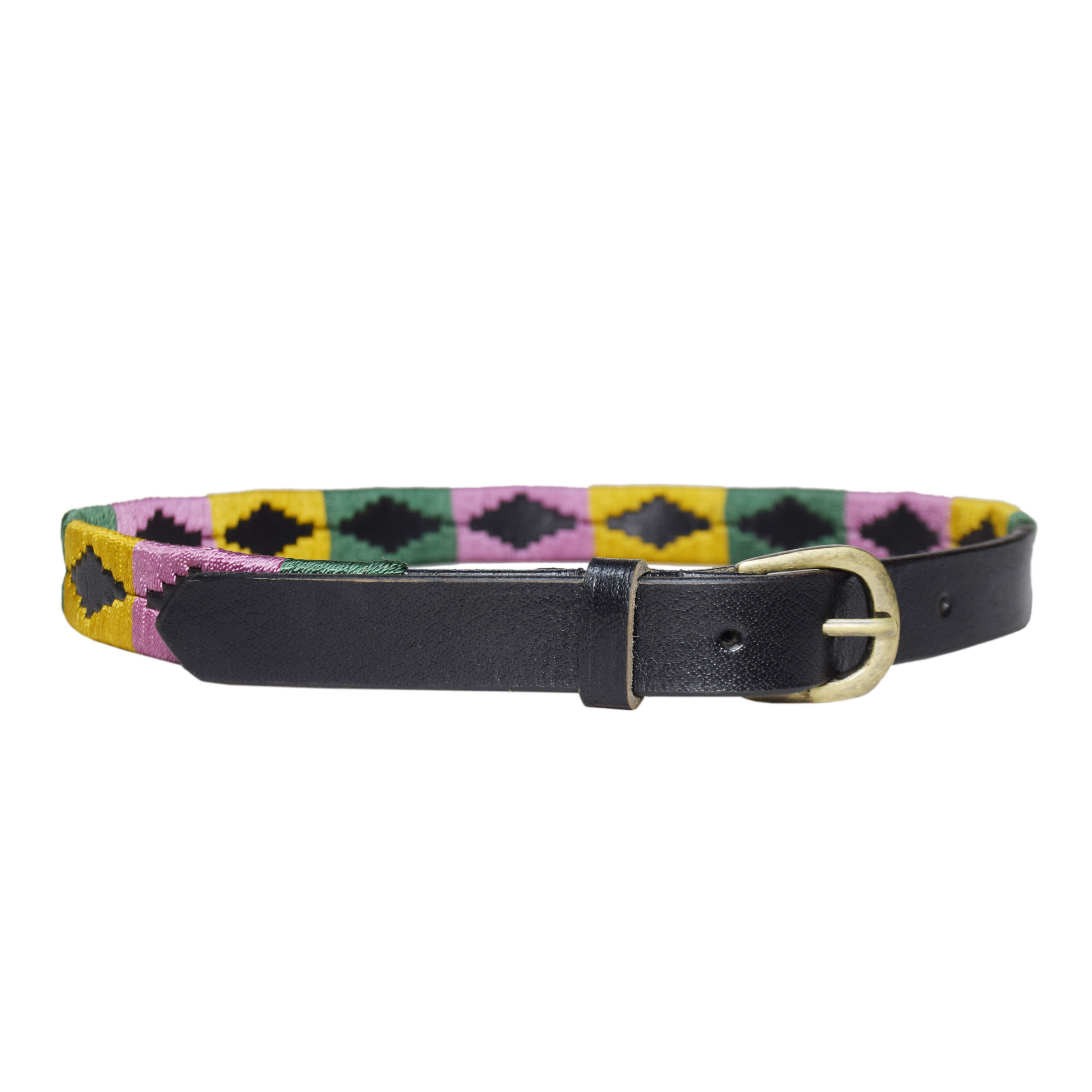 BLACK POLO BELT WITH MULTICOLOR DESIGN 1 INCH